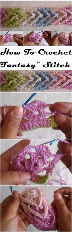 "Crochet Stitches Patterns Learn To Crochet ""Fantasy"" Stitch - How To Crochet ""Fantasy"" Stitch Learn To Crochet, Love Crochet, Crochet Motif, Crochet Yarn, Easy Crochet, Crochet Flowers, Crotchet, Crochet Stitches Patterns, Knitting Stitches"