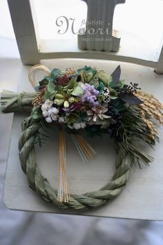 Japanese New Year wreath 2013 After Christmas, Christmas 2016, Christmas Wreaths, Christmas Decorations, Giant Flowers, Love Flowers, Diy Flowers, Japanese New Year, Chinese New Year