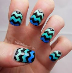 chevron gradient nails. Hmmm... Sponge technique ombré. Cut painters tape with patterned scissors and place over nail. Paint black. When dry pull off tape and add a top coat!