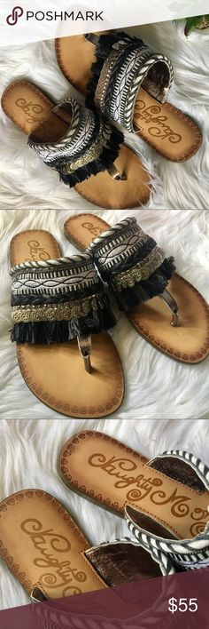 Naughty Monkey Monaco Pewter Sandals Absolutely love these sandals! Layers upon layers of cuteness! From the tassels to the beaded layers, it's absolutely stunning. Never been worn except in the store to try them on naughty monkey Shoes Sandals