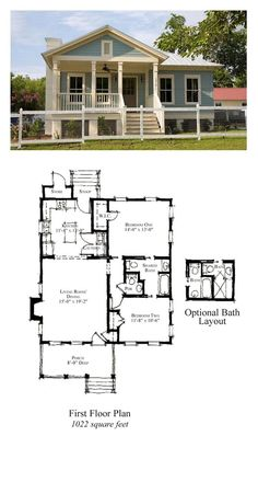 COOL House Plan ID: chp-49774 | Total Living Area: 1022 sq. ft., 2 bedrooms 1.5 or 2 bathrooms. #houseplan #carolinahome