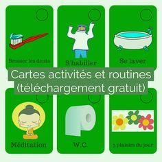 Les cartes activités sont un moyen efficace pour aider les enfants à mémoriser les routines et à visualiser l'organisation de la journée (sécurisant pour eux).