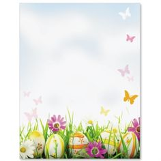 Easter design paper with eggs and butterflies: Hidden Eggs Border Papers | PaperDirect