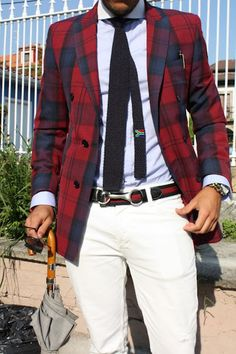 Just an all around great look. The knitted tie keeps everything balanced.