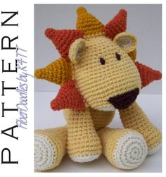 Crochet Pattern - KISS Series Lion  ~ Crocheted as directed with G hook, models which have been produced are approximately 12 inches tall. However, depending on your crochet style, this measurement may/will vary. ~
