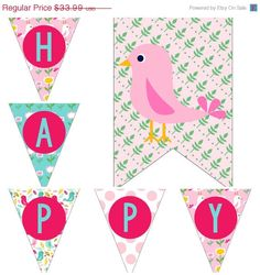 SALE 25% OFF Flower Spring Birds Birthday Party Decorations Pack Package Digital Download DIY Printable