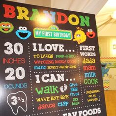 Chalkboard sign at a Sesame Street birthday party! See more party planning ideas at CatchMyParty.com!