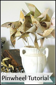 Quick and easy tutorial to make pinwheels out of scrapbook paper