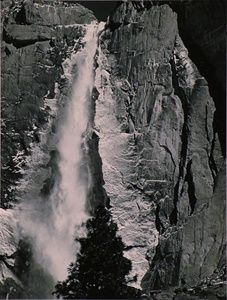 Upper Yosemite Fall, Spring (with Ice)  by Ansel Adams