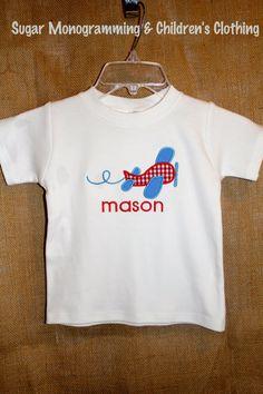 Boys Airplane Applique Shirt by SugarMonogramming on Etsy, $24.00