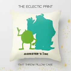 home decor. gifts for monsters. just plain classic.  The perfect addition to any household that loves Disney Pixar Collectibles! This throw pillow case features one of our silhouette pieces, a stylish statement that will liven up any room!  Front: Mike & Sully Back: Boo  ♥ About the pillow...