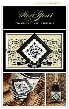 """New Year Champagne Label - Free PDF Printable with """"You simply need to download a QR reader on your smart phone and scan the code on the label. It will take you to a video montage of the last 35 years of New Year's countdown celebrations at Times Square, New York. Enjoy!"""""""