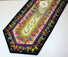Christmas Quilted Table Runner  Laurel Burch by QuiltSewPieceful