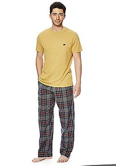F&F Checked Bottoms Loungewear Set - Yellow