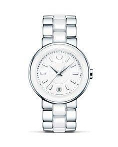 Movado Watch, Women's Swiss Cerena Diamond Accent White Ceramic and Stainless Steel Bracelet 606540 - Women's Watches - Jewelry & Watches - Macy's Stainless Steel Watch, Stainless Steel Bracelet, The Bling Ring, Bling Bling, White Ceramics, Gold Watch, Bracelet Watch, Fine Jewelry, Jewellery