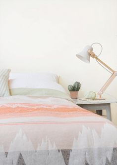 Textile Collection, Design by Mae Engelgeer - Bed Blankets in the Bedroom in Pastel and Fluo Colors & Graphical Patterns. Dream Bedroom, Home Bedroom, Bedroom Decor, Airy Bedroom, Trendy Bedroom, Bedroom Ideas, Interior Exterior, Home Interior, Bathroom Interior