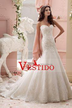 2016 vestidos de boda del Organza de la sirena del amor con apliques