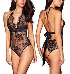 b31604acd46 ALLoveble Women Sexy Lingerie See-Through Backless Lace Babydoll Open Crotch  Teddy Underwear Black (XL