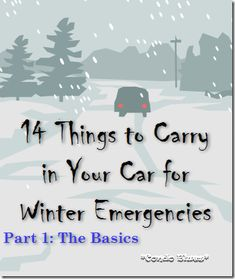14 basic things to carry in your car for winter snow emergencies. I didn't really think I would need something like this in Georgia, until last week's snow/ice Survival Tips, Survival Skills, Survival Stuff, Survival Food, Outdoor Survival, Winter Car, Winter Snow, Winter Tips, Winter Hacks