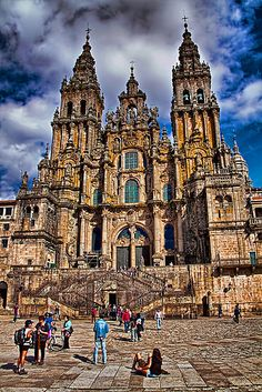 Arriving in Santiago on foot is like nothing else in the world... Spain. Santiago de Compostela. Catherdral in the afternoon.