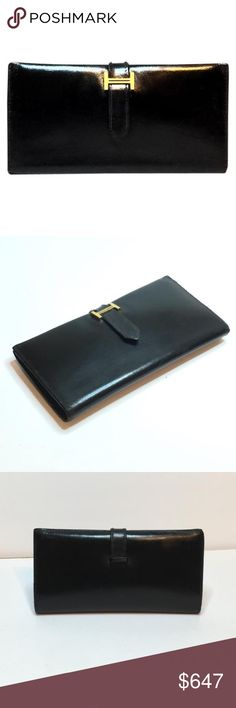 Hermes bearn wallet black leather long Hermes classic bearn wallet black leather pristine condition. Hermes Bags Wallets
