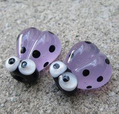Purple Handmade Lampwork Glass Ladybug Beads by purplecatjewels