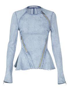 Figure this into the equation: asymmetric zip denim jacket   #pinterest #pinoftheday