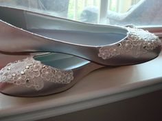 Lace Wedding Shoes Ballet Flat with Vintage Lace and Swarovski Crystals and Pearl Embellishment
