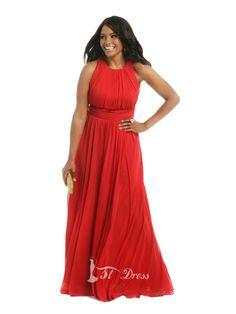 A-Line/Princess Jewel Sleeveless Pleats Floor-length Chiffon Plus Size Prom Dresses #dress #fashion #women #lace