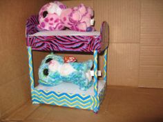 Beanie Boo Beds from cardboard boxes, pencils and duct tape: We had fun making these