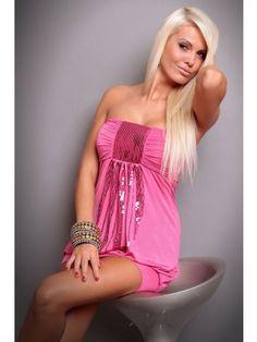 Vivacious Strapless Rose Pink Club Dress with Sequins Decoration Cheap Fashion, Latest Fashion For Women, Venus Swimwear, Mix And Match Bikini, Future Fashion, Club Dresses, Sequin Dress, Clubwear, Pink Club