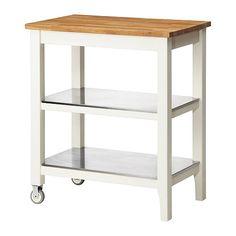 IKEA - STENSTORP, Tarjoiluvaunu/apupöytä, Lisää säilytys-, lasku- ja työskentelytilaa.2 kiinteää ruostumatonta teräshyllyä ovat hygieeniset, tukevat, kestävät ja helpot pitää puhtaana.Tason pinta on luonnollista ja kestävää massiivipuuta, joka voidaan hioa ja käsitellä tarvittaessa.Hyvä valinta ympäristön kannalta. Valmistettu ohutpuusta, jossa lastulevyn pintaan on liimattu ohut massiivipuukerros. Tekniikan avulla voidaan yhdistää massiivipuun ominaisuudet ja tehokas materiaalien käyttö.