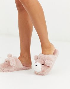 Shop Women'secret fluffy bear slippers in pink at ASOS. Bear Slippers, Cute Slippers, Black Creepers, Faux Fur Collar Coat, Asos, Ugg Classic Short, Cute Spring Outfits, Slipper Boots, Womens Slippers