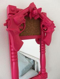 hot pink gun mirror bulletin board with skull by CheeseCrafty, $29.00