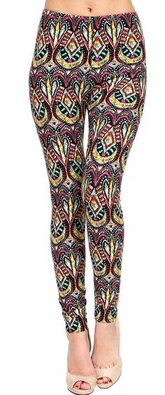 Printed Brushed Leggings - Flashy Motley  #Leggings #OOTD #Fashion #VIVCollection