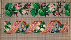 Hem pattern with rosebuds, lilies of the valley, forget-me-not and ribbon, century Cross Stitch Bookmarks, Mini Cross Stitch, Cross Stitch Borders, Cross Stitch Rose, Cross Stitch Flowers, Cross Stitching, Cross Stitch Patterns, Hand Embroidery Designs, Ribbon Embroidery