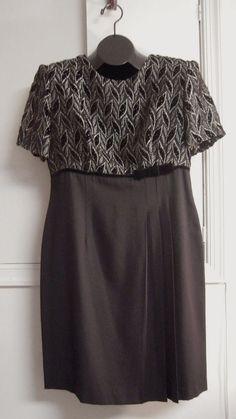 You can't have too many Little Black Dresses! Little Black Dress Size 10 Empire Waist Sheer Lined Bodice Black Betsy Lauren #BetsyLauren #EmpireWaist #Cocktail