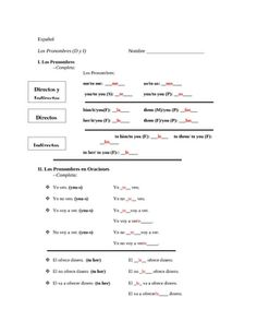 spanish direct and indirect object pronoun worksheet spanish direct ...