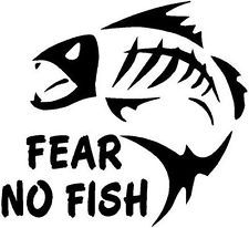 BLACK Vinyl Decal - Fear no fish bones skelaton fishing hook fun ...