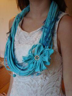 TShirt Necklace Aqua by AtticGlitz on Etsy, $25.00