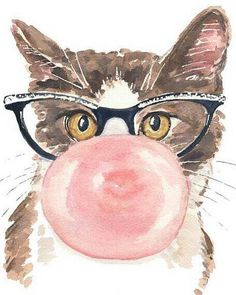 Cat wearing eyeglasses & blowing a bubble with pink bubble gum  art
