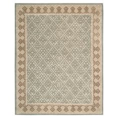 Lend a touch of stylish appeal to your living room or master suite with this lovely wool and art silk rug, showcasing a diamond trellis motif in light green....