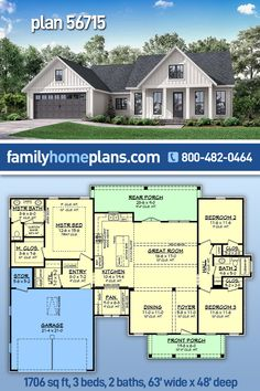 Modern farmhouse with open floor plan - Luxurious master suite - Outdoor entertaining space - Two car garage - Oversized pantry with desk space - Kitchen features large island with eating bar - Split bedroom layout - Front load two car garage. #houseplan #floorplans #architectural #newhome #newconstruction #newhouse #homeplan #home #house #newhouseplan #blueprints #futurehome #newhomeplan #homedesign #buildhome #buildhouse #build #ranch #dreamhouse 1200sq Ft House Plans, Country House Plans, Dream House Plans, Small House Plans, Country Farmhouse, Modern Farmhouse, Porch Storage, New Home Designs, Car Garage