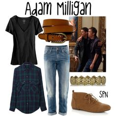 """Adam Milligan"" by evil-laugh on Polyvore Supernatural Inspired Outfits, Supernatural Fashion, Supernatural Shirt, Supernatural Clothes, Supernatural Merchandise, Supernatural Cosplay, Supernatural Drawings, Disney Inspired Fashion, Character Inspired Outfits"