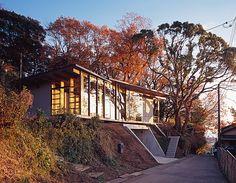 #Modern Japanese hilltop #home facade steel framed doors and windows