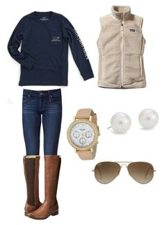 """""""Untitled #16"""" by lweston15 ❤ liked on Polyvore featuring Patagonia, Paige Denim, Vineyard Vines, Blue Nile, Kate Spade, Ray-Ban and Frye"""