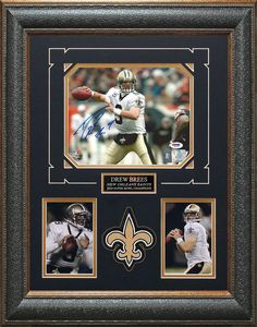 Drew Brees Signed Saints Framed Photo | Autographed Photos, Helmet, Jersey, Football.