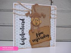 Miranda's Creaties - Themadag #81: Eline's monkeys Baby Cards, Kids Cards, 1st Birthday Cards, Congratulations Baby, Craft Punches, Collectible Cards, Marianne Design, Animal Cards, Scrapbooking
