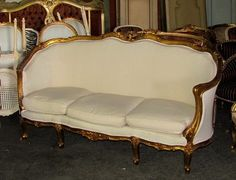 19th C Bold Grand Gilded French Louis XV Corbeille Settee Daybed Sofa | eBay