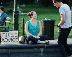 What I Learned Sitting in Washington Square Park With a Sign That Says 'Free Advice.' Interesting idea! @gina guerriero